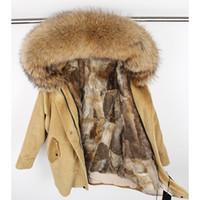 Winter Naturkaninchenfell Futter Jacke Mantel Frauen Parka Pelz Corduroy echte Waschbären Pelzkragen warme Langer parka MX191101