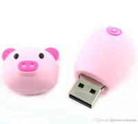 memória flash usb 64 venda por atacado-Navio rápido Moda 8 GB ~ 64 GB Cartões de Memória Bonito Pig Piggy USB Flash Drive vara 32 GB Rosa Claro) usb flash de armazenamento