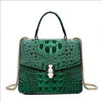 Wholesale purple crocodile handbag for sale - Group buy Hg New female shoulder bag quality PU diagonal chain bag fashion crocodile texture handbag