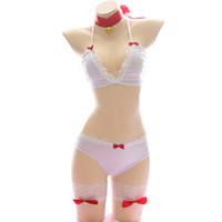 ingrosso reggiseno reggiseno delle ragazze-4pcs Womens Cute Cat Bikini Sexy Lingerie Lolita Anime Bell Collar Costumi Cosplay Giapponese Ragazze Intimo Reggiseno e slip set