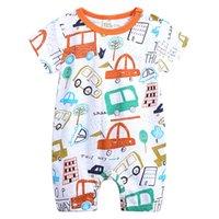 botões de madeira preta venda por atacado-Verão de manga curta macacão para recém-nascido Romper Baby Boy roupas e Baby Girl Clothes 0-24 macacão de bebê