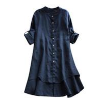 blusas de las mujeres coreanas al por mayor-2019 Mujeres Tops y blusas Botón de la vendimia Tops de las señoras Túnica Blusa larga de manga larga Ropa de moda coreana Ropa de mujer