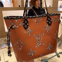 Wholesale girls new college bags resale online - 2019 New Arrival L Letter NEVERFULL Leather Handbag Brown Old Flower Pink Bag Printing Purse Womens Fashion Bags Girls Shopping Bag