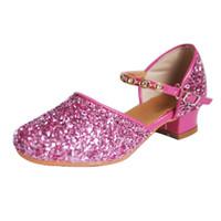 gesellschaftstänze großhandel-Glitzer Kinder Mädchen Latein Schuhe Kinder Mädchen Strass Ballsaal mit weichem Boden Tanzschuhe Sandalen *