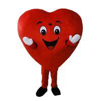 yetişkin kalp kostümü toptan satış-2019 Kırmızı Kalp Yetişkin Maskot Kostüm Yetişkin Boyutu Fantezi Kalp aşk Maskot Kostüm