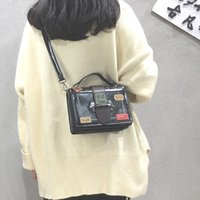 ingrosso borse di roccia rosse-Borse PU Box Croce Body Bags signore mano Red Tote per Borse delle donne Borsa a tracolla rock Unisex Zipper Solid