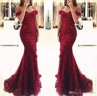 Wholesale plus size dresses feathers shoulders resale online - Feathers Mermaid Prom Dresses Long Illusion See Through Lace EvElegant Burgundy Off the ening Dresses Sexy Back Bridal Vestidos African Wear