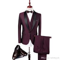 costumes de marié noir pourpre achat en gros de-Tuxedos de marié de mode pourpre Black Lapel Groomsmen costumes pour hommes smoking de mariage populaire veste homme costume 3 pièces (veste + pantalon + gilet + cravate)