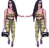 Wholesale digital printing yoga pants resale online - Women Digital Printing Tracksuits Golden Printed Bra Pants set Fashion Sports Yoga Outfit Sets LJJO6852