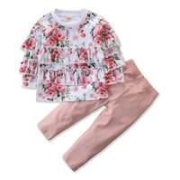 Wholesale kids woolen pants for sale - Group buy 2019 baby girl fall clothes girls boutique outfits pink kids ruffle tshirts floral tops lace tutu pants childrens clothing sets autumn