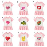 Wholesale neck dress summer for sale - Group buy Children Girls pure cotton dress fashion short sleeves cartoon fruit love skirt kids girl designer dress M050