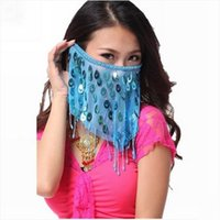 продажа лицевой вуали оптовых-Women Sexy Belly Dance Face Veils With Peacock Sequin  Belly Dancing Veil on Sale 9 Colors for women dance clothes