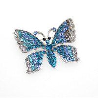 Wholesale fashion butterfly brooch online - Fashion hot sell rhinestone blue butterfly Animal Brooch Pin for gift party