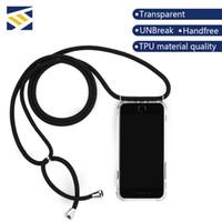 eckabdeckungen großhandel-Vier Ecken Anti-Fall Stoßfest Transparent Gürtel Telefon Fall TPU PC Sling Slim Cover für iPhone X XS MAX XR 8 7 6 plus mit Lanyard Strap