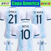 discount football jersey achat en gros de-Remise Thaïlande 2019 Argentine maillot de football Copa America 2020 MESSI DYBALA HIGUAIN ICARDI Camisetas de futbol Enfants Kit De Maillot De Football