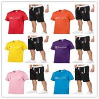 erkekler romper toptan satış-2019 Erkekler Şampiyonlar Şort Eşofman Tasarımcı Erkek Yaz T Shirt + Şort 2 Parça Romper Spor Gevşek Takım Elbise Spor C52305 Uyar