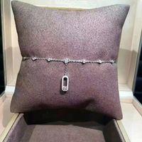 cazibe ayaklıkları toptan satış-Kadınlar İçin Lüks Klasik Tasarımcı S925 Gümüş Tam Kristal Kare Movabale Kristal Charm Halhal Zincir Takı