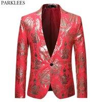 lüks düğün smokinleri toptan satış-Erkekler Lüks Günlük Elbise Çiçek Blazer Slim Fit Bir Düğme Kırmızı Blazers Erkekler Düğün Yemeği Smokin Blazer Hombre XL Takımları