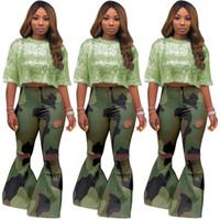 одежда для женщин оптовых-Женские брюки размера плюс капри сексуальный клуб с высокой эластичной камуфляжной дырой Расклешенные брюки на пуговицах летают в полный рост брюки осень зима одежда 1334