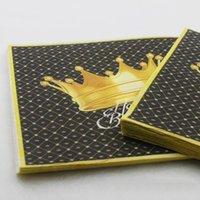 coronas de papel dorado al por mayor-20 unids / pack de alto grado de oro negro corona servilleta de papel para niños fiesta de cumpleaños servilleta mesa cena papel tejidos suministros para fiestas