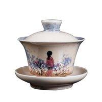 Wholesale home decor handmade crafts resale online - Art Flower Tea Tureen Handmade Jingdezhen Gaiwan ml Ceramic BirdTea Bowl Teaware Master Cup Drinkware Home Decor Crafts