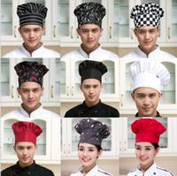 Wholesale chef prints for sale – custom Kitchen Chef Hats Restaurant Chef Kitchen Workwear Hats Cooking BBQ Mushroom Caps Food Service hat LJJK1204