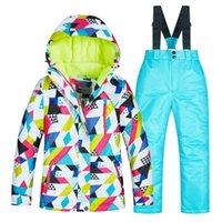 kinder thermische sets großhandel-Kinder Thermal Skifahren Sets Outwear Hose Winddicht Warterproof Jungen Mädchen Snowboard Anzüge Kinder Winter Sets de Snowboard
