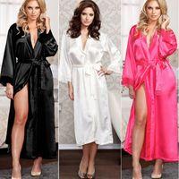 kadınlar için siyah gecelik giysileri toptan satış-Kadınlar Bayanlar Seksi Uzun Ipek Kimono Sabahlık Banyo Robe Nightgowns Sleepshirts Gecelik Pamuk Siyah Beyaz Gül
