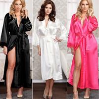 sexy vestido de kimono blanco al por mayor-Mujeres damas sexy largo Kimono seda bata bata de baño camisones camisones camisón algodón negro blanco rosa