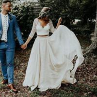 fildişi elbiseler toptan satış-2019 Plaj Boho Gelinlik Uzun Kollu A Hattı Beyaz Fildişi Şifon Dantel Prenses Artı Boyutu Gelin İki Adet Gelinlik BA9943