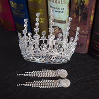 altın taç elmas toptan satış-Retro Lüks Kraliçe Barok Altın Gümüş gelinin Evlilik Taç Küpe Setleri Elmas Taç Headdress Takı Setleri