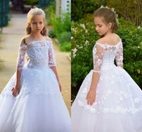 Wholesale wedding party dresses young for sale - Group buy Embroidered Lace A Line Flower Girls Dresses Half Sleeves Bateau Young Girl Formal Party Wedding Gown Sweep Train Fashion Sequins AL2858