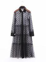 polka dot collar shirt toptan satış-zada kadın gömlek elbise puantiyeli kısın yaka Grenadine elbise