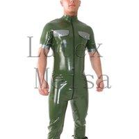 homens verdes do catsuit venda por atacado-Natural 0,4 mm de espessura uniforme de látex verde do exército zentai catsuit masculino com bolsos no peito e anexado zip frente para trás cintura