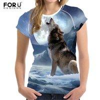 ingrosso maglia della donna del lupo-Forudesigns 2019 Moda Donna T-Shirt Crop Top 3d Wolf Design T Shirt Donna a maniche corte Cool Tshirt Per Ragazze Roupa Feminina Y19042501