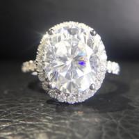 мосянита белого золота 14 тыс. оптовых-4,2 карат 9.5mm овальная Cut EngagementWedding Муассанит бриллиантовое кольцо Double Halo кольцо Подлинная 14К 585 Белое золото для женщин