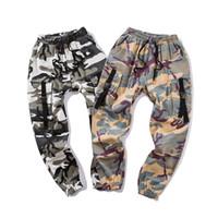 Wholesale yellow camo pants resale online – Color Camo Cargo Pants Mens Fashion Baggy Tactical Trouser Hip Hop Casual Cotton Multi Pockets Pants Streetwear