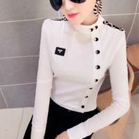 хлопок рубашка с длинным рукавом оптовых-2018 весна с длинным рукавом воротник стойка плеча марки хлопчатобумажные рубашки женская мода кнопки хлопка блузки эластичный топ