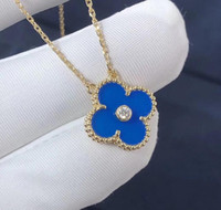 Wholesale sapphire pendant 18k resale online - 2019 Newest Christmas Edition Necklace with Crystal Luxury Designer K Gold Blue Four Leaf Clover Pendant Necklace Jewelry for Women