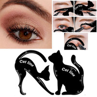 макияж подводка для глаз кошка оптовых-Макияж Cat Eye Line Tool Eyeliner Трафареты Шаблон Shaper Модель для начинающих Эффективное Eyeline Card Tool 1pair RRA991