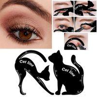 Wholesale eyeliner template makeup tools online - Cat Line Eye Makeup Tool Eyeliner Stencils Template Shaper Model Beginners Efficient Eyeline Card Tools pair RRA991