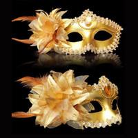 karnaval kostümleri tüyleri toptan satış-Seksi Elmas Venedikli Venedik Tüy Çiçek Düğün Karnaval Parti Performans Kostüm Seks Lady Masquerade Cadılar Bayramı Maske Maskesi
