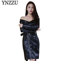 robe noire en simili cuir à manches longues achat en gros de-YNZZU 2019 Automne Hiver noir veste en cuir shouler Slim mince manches sexy dames en PU robe mode élégant manteau Faux YO845