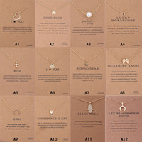 Wholesale gold elephants resale online - New Arrival Dogeared Necklace Gift card Elephant Pearl Love Wings Cross Key Zodiac sign Compass lotus Pendant women Fashion Jewelry A0103