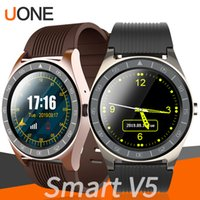 Wholesale smart watch sync android phone online – V5 Smart Watch Bluetooth Smartwatches Insert SIM Card Battery Camera Sync SMS Mobile Phone Men Watch for Android Cellphones PK DZ09