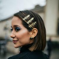 haarstift bling großhandel-Bling Brief Haarnadeln für Frauen Ins Gleichen Absatz Mädchen Haarspangen Pins Haarspange Werkzeuge Haarschmuck Strass Legierung Persönlichkeit Wort