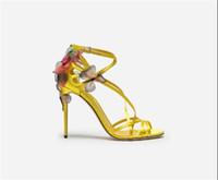 ingrosso sandali gialli in tacco stiletto-Estate nuovi sandali con fibbia in pelle con tacco alto abbinati a scarpe con tacco a spillo e tacco a spillo