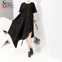 koreanischen neuen stil ringe großhandel-Neue 2019 Korean Style Frauen Solid Black Asymmetrische Langes Kleid Kurzhülse Ringe Nieten Weibliche Plus Size Casual Dress 5070