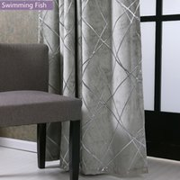 Wholesale grommet drapes resale online - CurtainSilver Jacquard Chenille Blackout Curtains Drape Bedroom Home Deco Blind Window Treatment Curtain For Living Room T200323