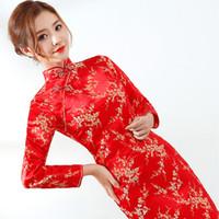 uzun cheongsam gece elbisesi toptan satış-Kırmızı Çin Gelin Gelinlik Seksi Kadınlar Saten Uzun Kollu EVening Parti Qipao Cheongsam Çiçek Örgün Sosyal Vestidos